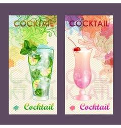 Artistic decorative watercolor cocktail poster vector