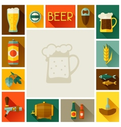 Frame with beer icons and objects in flat style vector