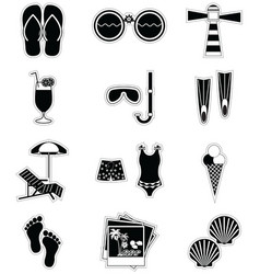 Summer and holidays attributes in black stickers vector