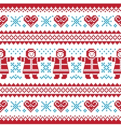 Christmas winter knitted pattern card vector