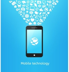 Smartphone on blue vector