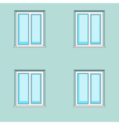 Windows on wall background vector