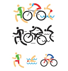 Triathlon cycling swimming symbols vector
