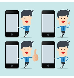 Business man show blank smartphone screen for byod vector