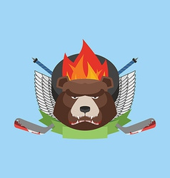 Hockey bear emblem vector