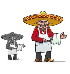 Mexican chef in sombrero vector