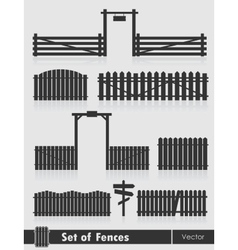 Set of black fences with gate vector