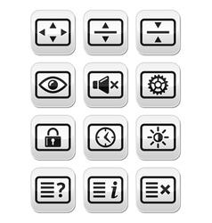 Computer tv monitor screen buttons set vector