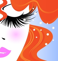 Face of red-haired girl vector