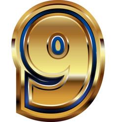 Golden number 9 vector