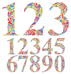 Floral colorful numbers set vector
