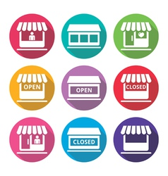 Shop or store supermarket flat design icons set vector