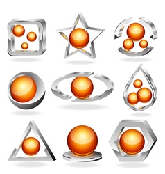3d business abstract icons set vector