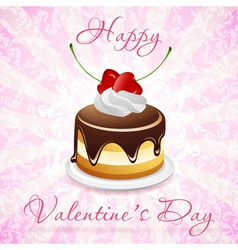 Happy valentines day card with cake vector
