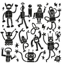 Robots - doodles set vector