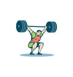 Weightlifter lifting barbell retro vector