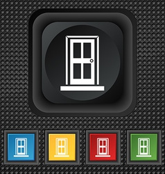 Door icon sign symbol squared colourful buttons on vector