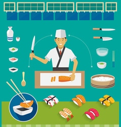 Sushi chef and cookware sets nigiri sushi vector