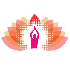 Yogi meditating on abstract lotus vector