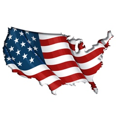 Us flag map inner shadow vector