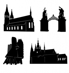 Silhouette of prague vector