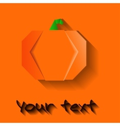 Orange origami halloween pumpkin vector
