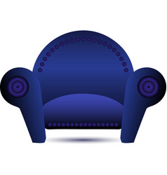 Classic blue armchair icon vector