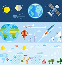 Flat icons of space and meteorological elements vector