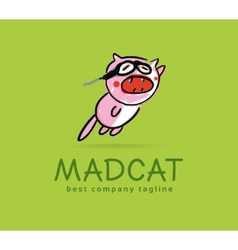 Abstract mad cat monster logo icon concept vector