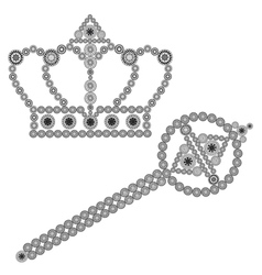 Crown and scepter vector