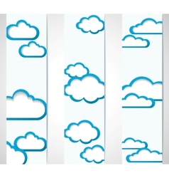 Banners with clouds frames vector