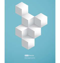 Realistic background with white cubes vector