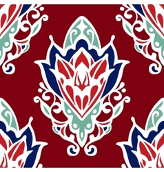 Damask flower red seamless design vector