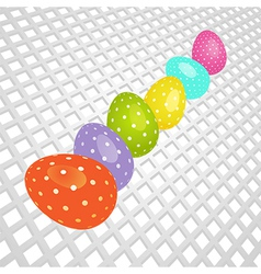 Easter coloured eggs on white 3d background vector