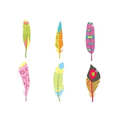 Colored feathers set bird feathers painted vector