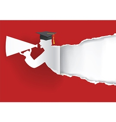 Paper graduate ripping paper vector