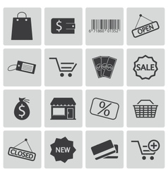 Black shop icons set vector