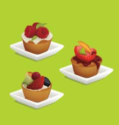 Cakes with fruits vector