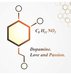 Dopamine molecule love and passion concept vector