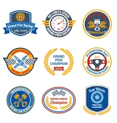 Racing emblems colored vector