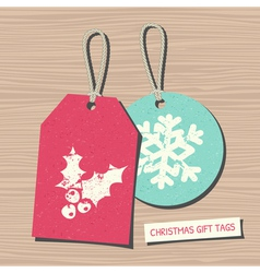 Vintage style christmas gift tags in red and blue vector