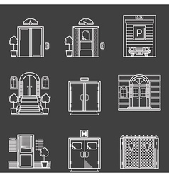 Contour icons collection of different types doors vector