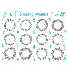 Hand-drawn floral laurel wreathes vector