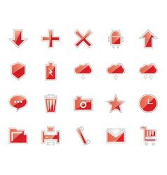 Elegant red basic icons vector