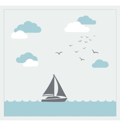 Card with sailboat and clouds vector