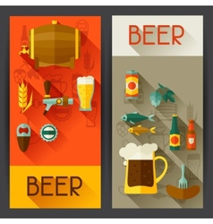 Banners with beer icons and objects in flat style vector