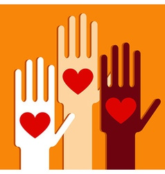 Hands with love vector