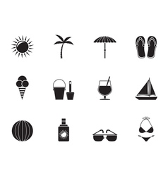 Silhouette holiday and beach objects vector