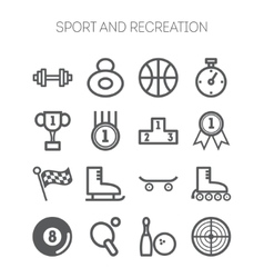Set of monochromatic simple sports icons vector