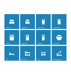 Furniture and bed icons on blue background vector